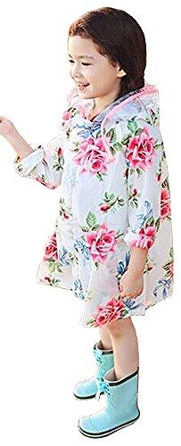 (エーケー)AKStyleガールズキッズ子供用安全フード付きかわいい花柄レインコート収納袋セット女の子フラワーバラ薔薇通学通園カッパ150401-1(M,ホワイト)