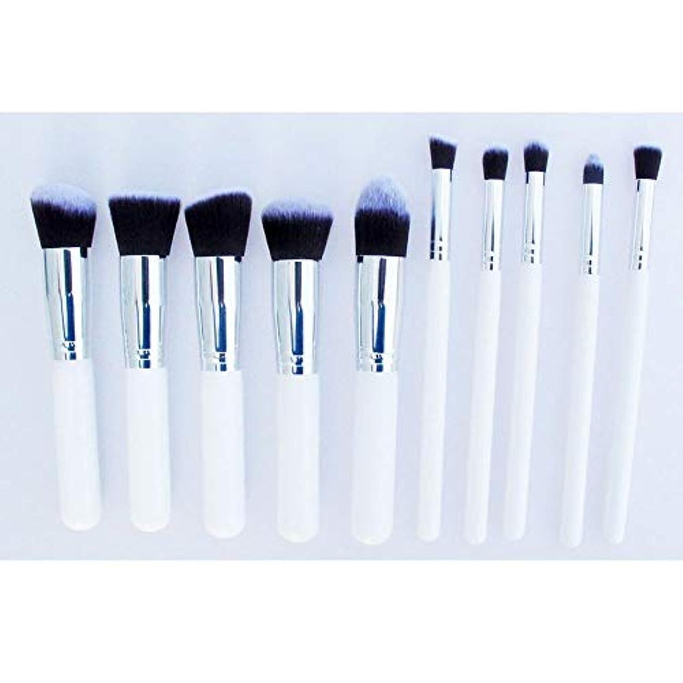 周術期キャプチャーロケット化粧品 10本セット 化粧ブラシセット プロ メイクブラシ 人気化粧筆 超柔らかい フェイシャルメイクアップ 化粧品 美容ツール (Color : Silver)
