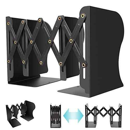 DAMIGRAM 本立て 伸縮 ブックスタンド 卓上収納 収納ケース 仕切りスタンド 自由伸縮 金属収納スタンド 本棚 (ブラック)