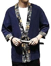 Keaac メンズファッションコットンリネン軽量カーディガン着物オープンフロントコート