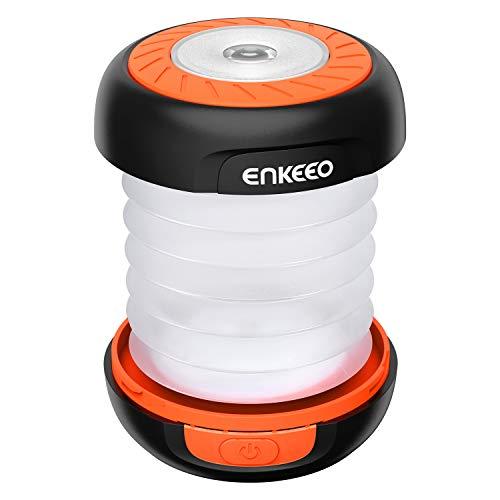 enkeeo LEDランタン 懐中電灯 ソーラー USB充電式 モバイルバッテリー 3明るさモード 高輝度 折り畳み式 軽量 コンパクト アウトドア キャンプ 防災グッズなどに SB-6071【メーカー保証】(オレンジ)