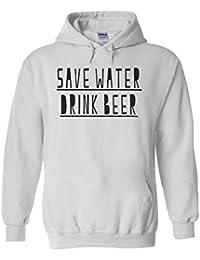 Save Water Drink Beer Slogan Novelty White Men Women Unisex Hooded Sweatshirt Hoodie-M