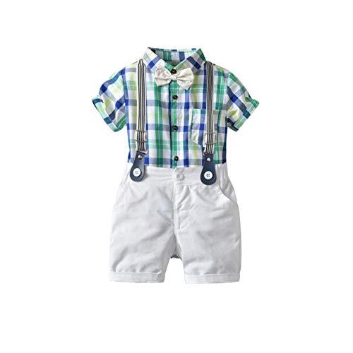 ec92b58b87d8e ベビー フォーマル 子供 服 Tシャツ パンツ 半袖 上下セット 綿 可愛い キッズ服 春夏 男の子 (グリーン