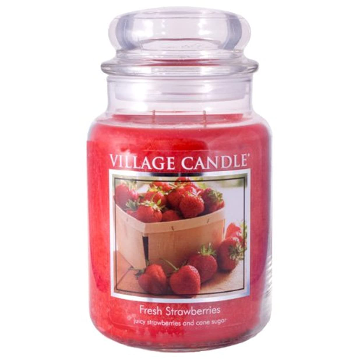 主権者落胆する食器棚Village Candle Large Fragranced Candle Jar - 17cm x 10cm - 26oz (1219g)- Fresh Strawberries - upto 170 hours burn...