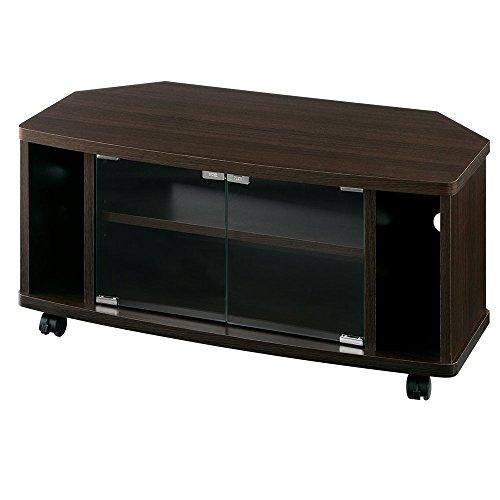 テレビ台 キャスター付き 木製 扉付き ローボード 32型対応 幅80cm 【完成品・組立不要】 ブラウン