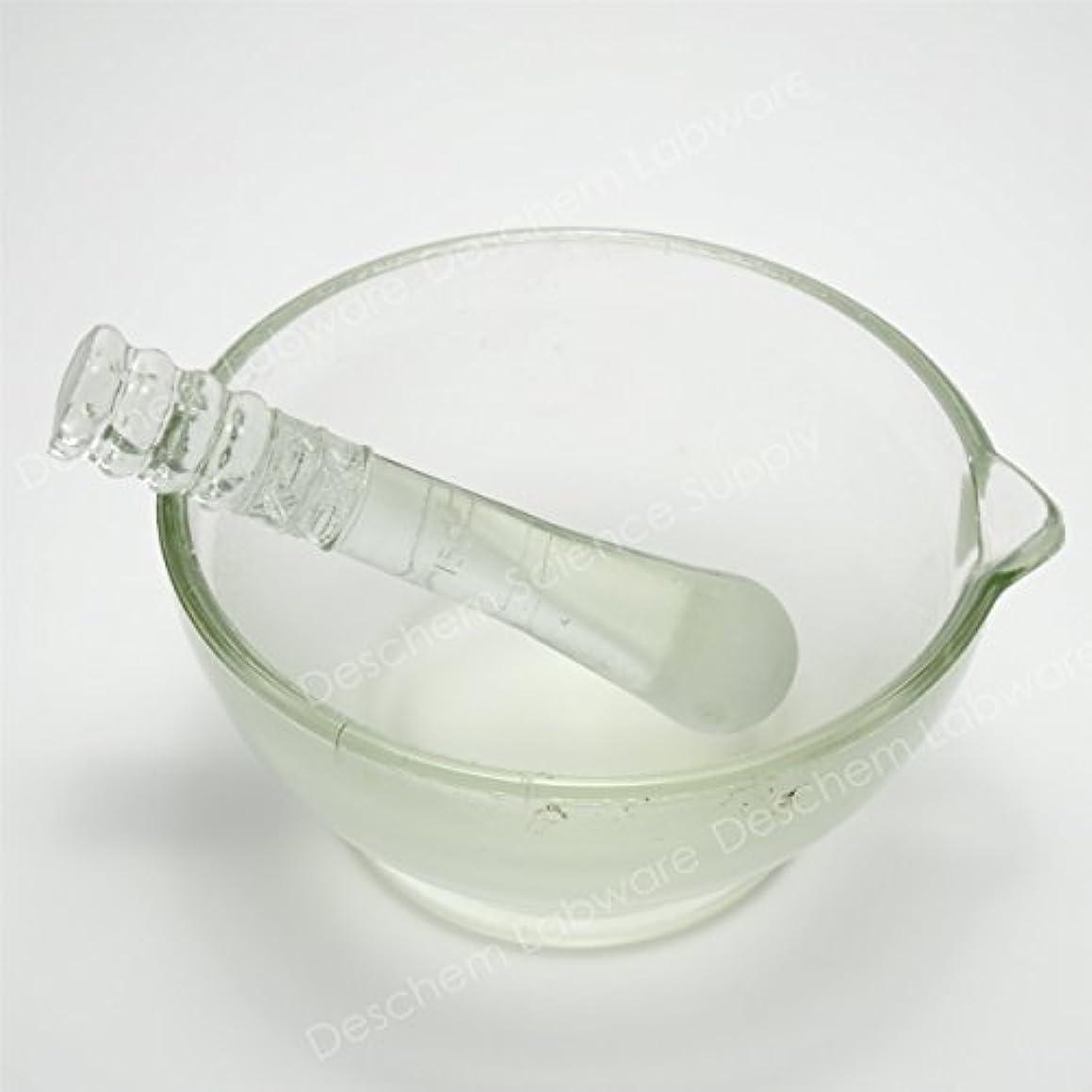 Deschem 180mm 硼珪酸ガラス 乳鉢 棒付 YB-180