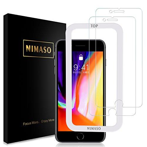 【ガイド枠付き】【2枚セット】Nimaso iPhone8 Plus/iPhone7 Plus 用 強化ガラス液晶保護フィルム 【日本製素材旭硝子製】3D Touch対応/硬度9H/高透過率