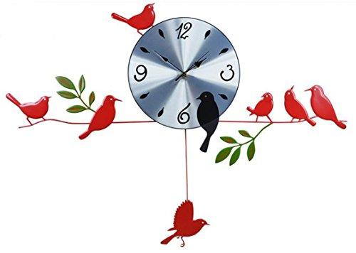鳥 の 壁 掛け 時計 バード ウォール クロック 黒 赤 静音 おしゃれ かわいい 落ち着いた 雰囲気 インテリア 模様替え 風流 情緒 風情 (A 赤)