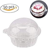 カップケーキボックス 50個 ボウル ケーキ ケース マフィン ポッド 高ドーム コンテナ プラスチック製 カップケーキコンテナ