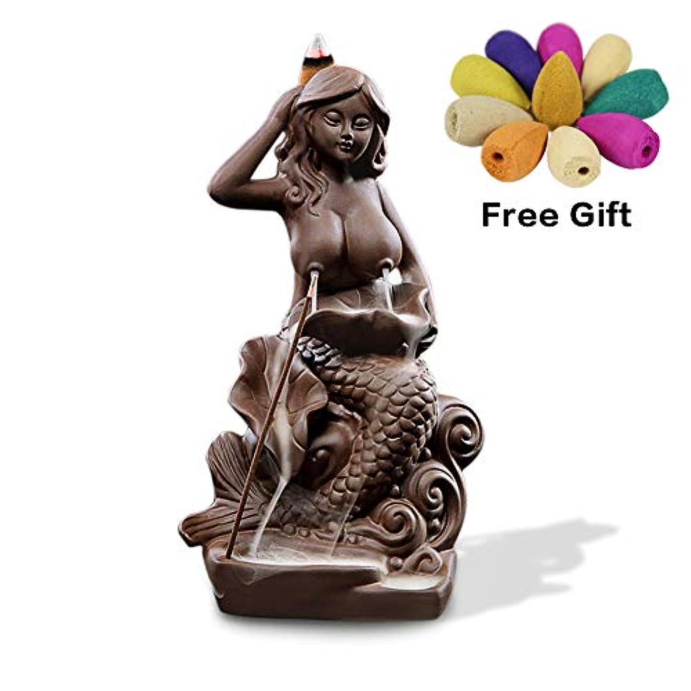 瞑想軍団なめらかな(Style9) - OTOFY Mermaid Ceramic Incense Holder Backflow Incense Burner with 10 Incense Cones Artwork Home Decor...