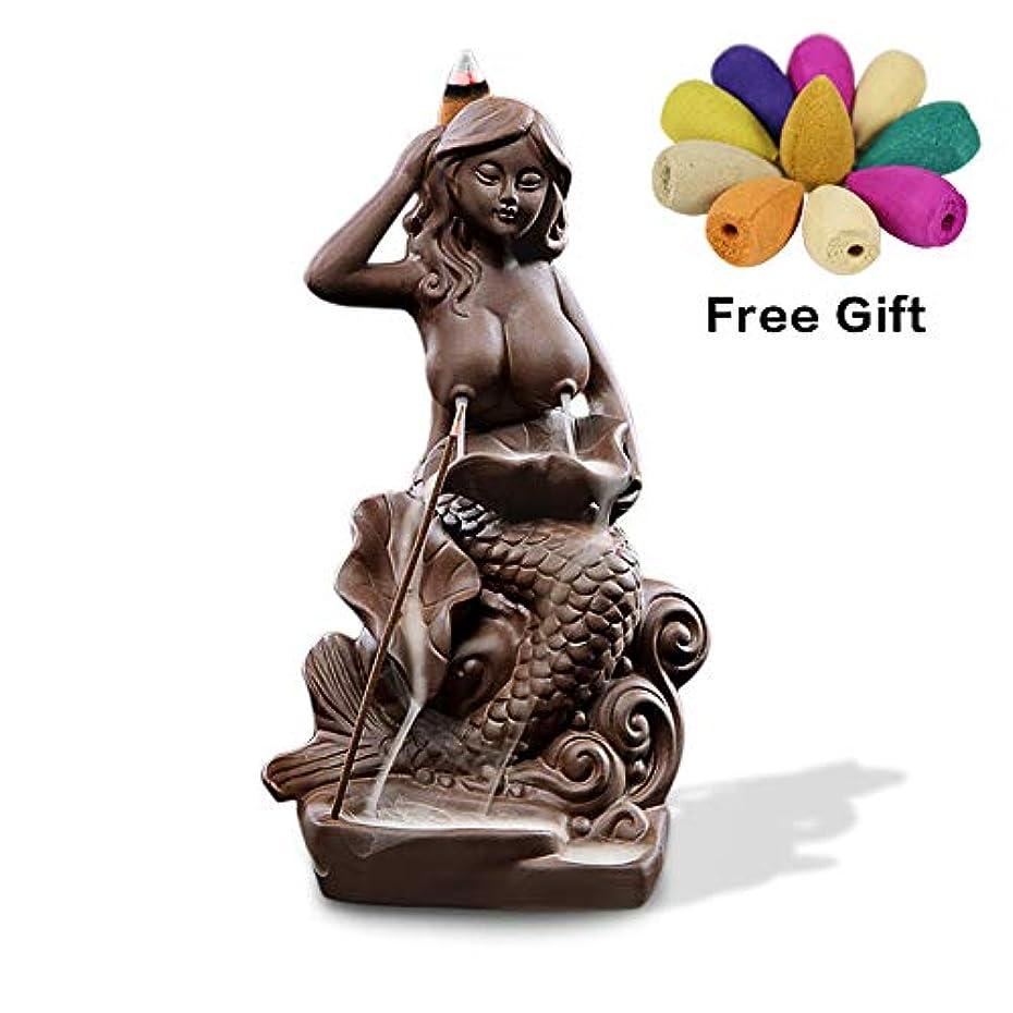 ハッピー運動する潤滑する(Style9) - OTOFY Mermaid Ceramic Incense Holder Backflow Incense Burner with 10 Incense Cones Artwork Home Decor...