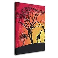 Hao Jinsun Silhouette Of A Giraffe, Sunset In Africa, Landscape キャンバス アートボード アートフレーム インテリア絵画 おしゃれ モダン フレーム 部屋飾り 絵画 壁掛け アートストリート バンクシー ポスター