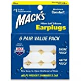 Macks Pillow Soft シリコン耳栓 6ペア 【作業、水泳 睡眠、勉強での騒音防止及び水が入るのを防ぎます】