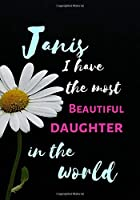 Janis  I Have The Most Beautiful Daughter In The World: Personalized Journal Notebook for Women. Janis  Name Gifts. Personalized Gift for daughter, 170 Pages, diary with lined paper 7 x 10 (17.78 x 25.4 cm )
