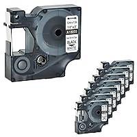 Nineleaf互換Rhino熱収縮チューブ業界ラベルテープDYMO 18055用LabelWriterおよび工業用ラベルメーカーRhino 1000 3000 4200 5000 5200 6000 450 Duo 12mm x 1.5m ブラック・オン・ホワイト8パック