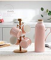Bedside 夜用水カラフェ セラミックカップ4つ付き 簡単に注ぎ口 寝室 浴室 キッチン 鉛不使用 セラミック製 ピンク