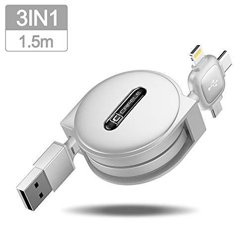 CAFELE 巻き取り式 3in1 充電ケーブル Type-C/Micro USB対応ケーブル 同時給電/データ転送 1.5m (ホワイト)