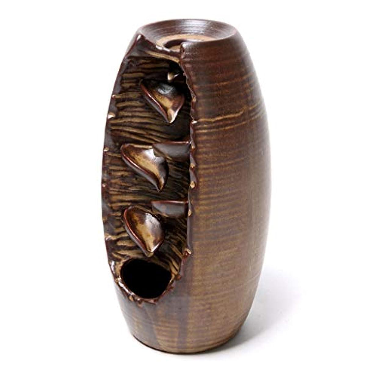 納得させるライターインストールセラミック逆流香炉逆流香ホルダーホームセラミックオフィス香コーンホルダーバーナーアロマセラピー炉 (Color : Brown, サイズ : 3.54*8.07 inches)