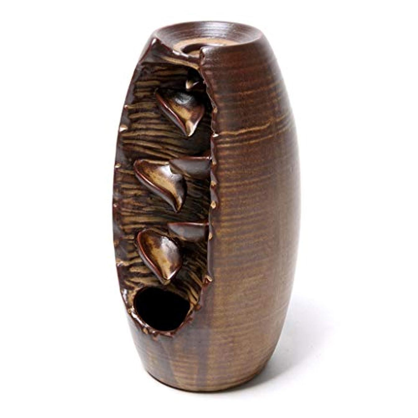 矢印のみテクスチャーセラミック逆流香炉逆流香ホルダーホームセラミックオフィス香コーンホルダーバーナーアロマセラピー炉 (Color : Brown, サイズ : 3.54*8.07 inches)