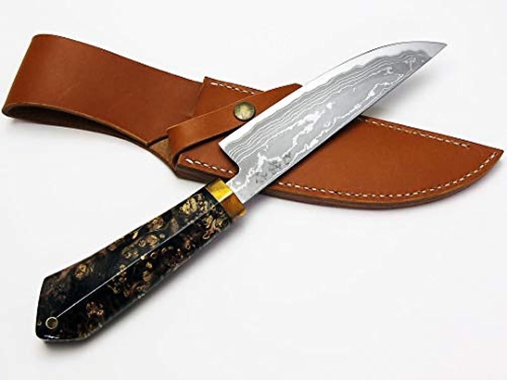 小売輸血富豪西田刃物工房 大祐作 白1号本割込多層鋼ナイフ150