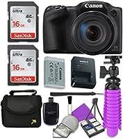 Canon PowerShot sx420is wi - fiデジタルカメラ(ブラック) with 2x SanDisk 16GB SDメモリカード+三脚+ケース+カードリーダー+クリーニングキット