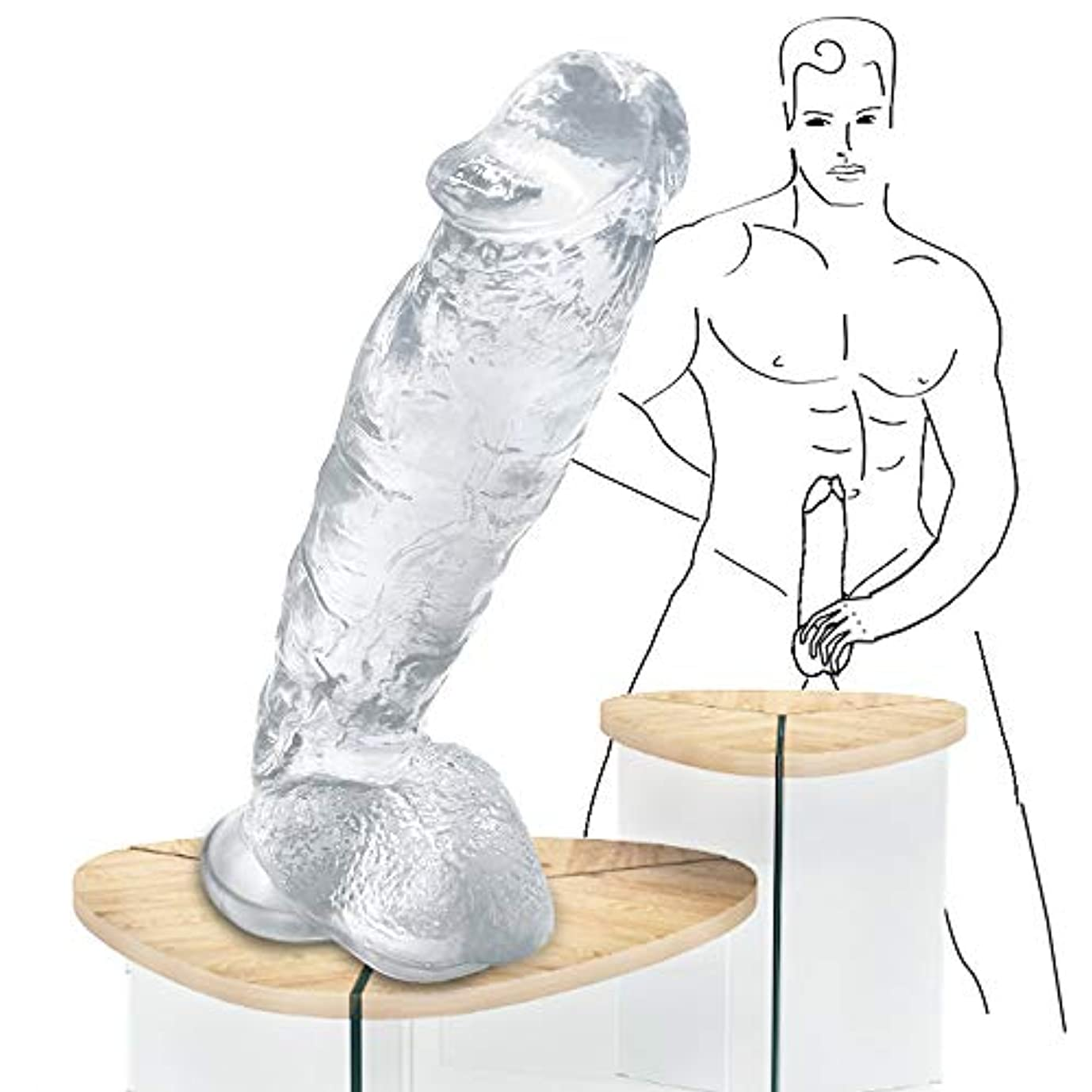 ぶどう寝具ラフト男性の巨大な胴体、超大型ボディマッサージ、大規模な個人的なリラックスマッサージスティック - 透明