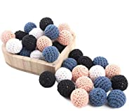 Promise Babe Wood Beads Needle Knitting 0.8 in (20 mm) / 50 Pieces Wood Beads Handmade Material, Bed Merry, Ra