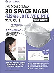 GREENNOSE 夏用 マスク 不織布マスク 99%カット3D超立体 花粉 花粉症 飛沫防止 風邪 予防 対応 フィット感 耳が痛くなりにくい 呼吸しやすい メガネが曇りにくい 口紅が付きにくい 立体構造