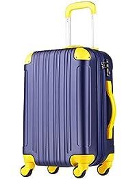 (レジェンドウォーカー) LEGEND WALKER 5082 超軽量 Wファスナー容量アップ拡張機能付 【一年修理保証】 TSAロック搭載 スーツケース (18色機内持込から4サイズ) おしゃれでかわいい キャリーケース スムーズな移動が可能な静音4輪タイプ (Mサイズ(5~7泊/61(拡張時72)L), ネイビー/イエロー)
