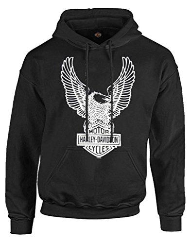 ハーレーダビッドソンメンズプルオーバーパーカースウェットシャツ、イーグルフード付き、ブラック30296662 US サイズ: xxlarge カラー: ブラック