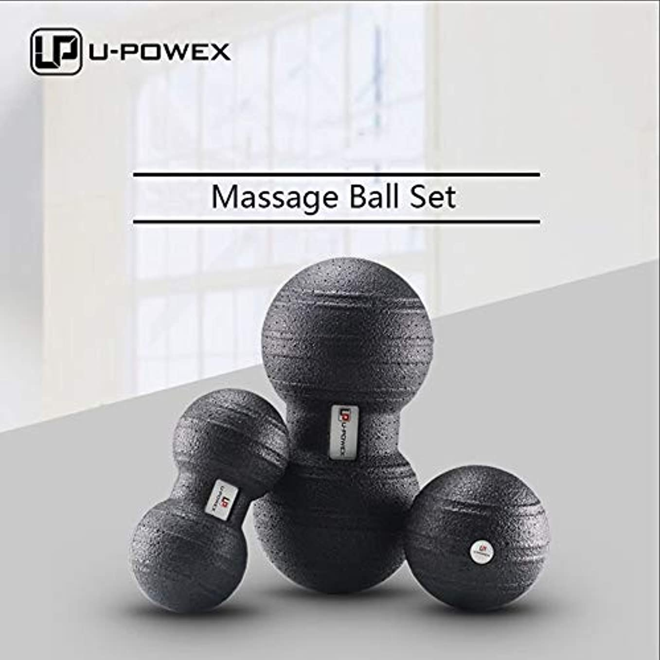 没頭する天才変化マッサージボール筋筋膜および筋肉マッサージボールセット3 in 1シングルボール8 cmまたはダブルボール12 x 24 cm - 100%非毒性のリサイクル可能な背中、肩、足