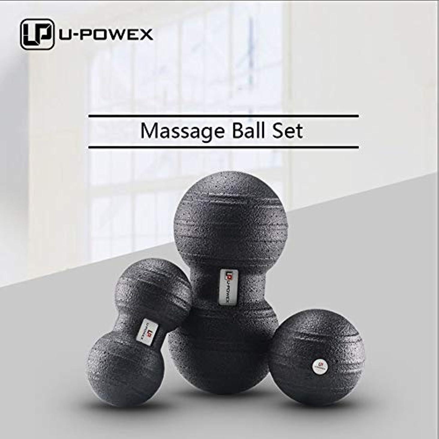 マッサージボール筋筋膜および筋肉マッサージボールセット3 in 1シングルボール8 cmまたはダブルボール12 x 24 cm - 100%非毒性のリサイクル可能な背中、肩、足
