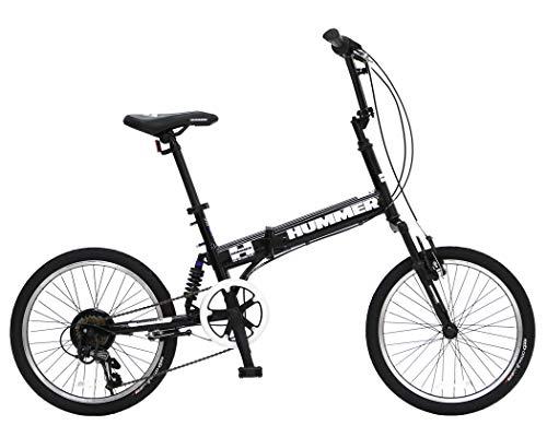 ハマー(HUMMER) FDB206Wsus-NP ブラック パンクしないノーパンクタイヤ採用 前後Wサスペンション搭載 折りたたみ自転車 シマノ製6段変速機搭載 63216-0199