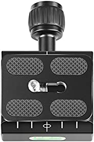 Neewer Metal 50mm Quick Shoe Base Clamp and QR Plate with Bubble Level and Adjustable Lever Knob, Compatible w