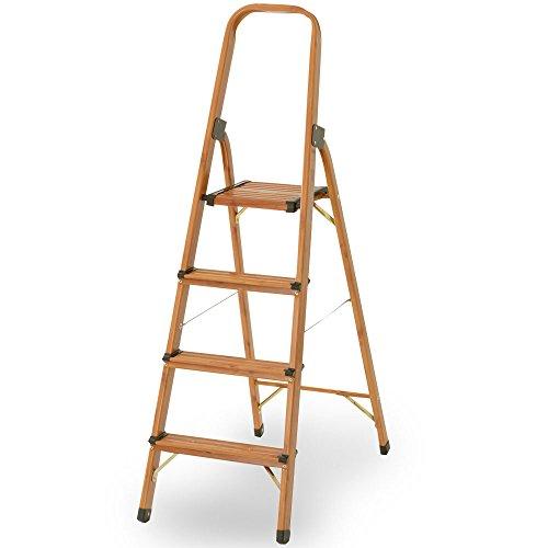 RoomClip商品情報 - 脚立 アルミ製 木目調 折りたたみ 持ち手付き 軽量 踏み台 ステップ おしゃれ スリム収納 〔4段〕 ブラウン