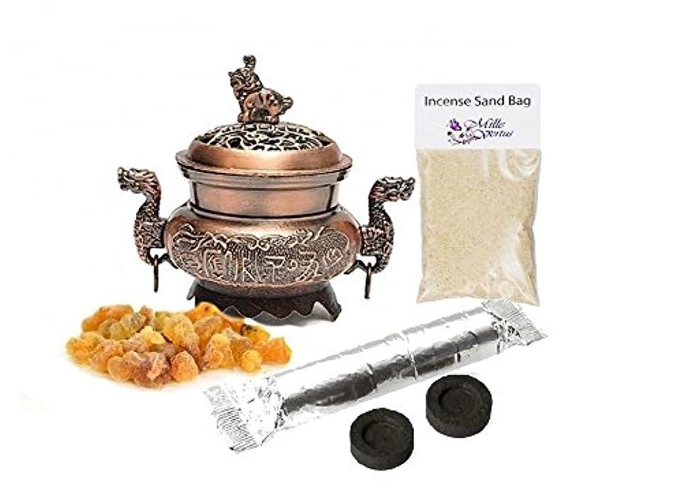 バースト折ダブルドラゴン香炉ホルダーwithアラビアガムAcacia樹脂Incense Burningキット(銅)