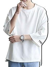 [ボルソ] 7分袖 ゆったり ビッグ シルエット Tシャツ メンズ (ブラック、ホワイト) M ~ XXL