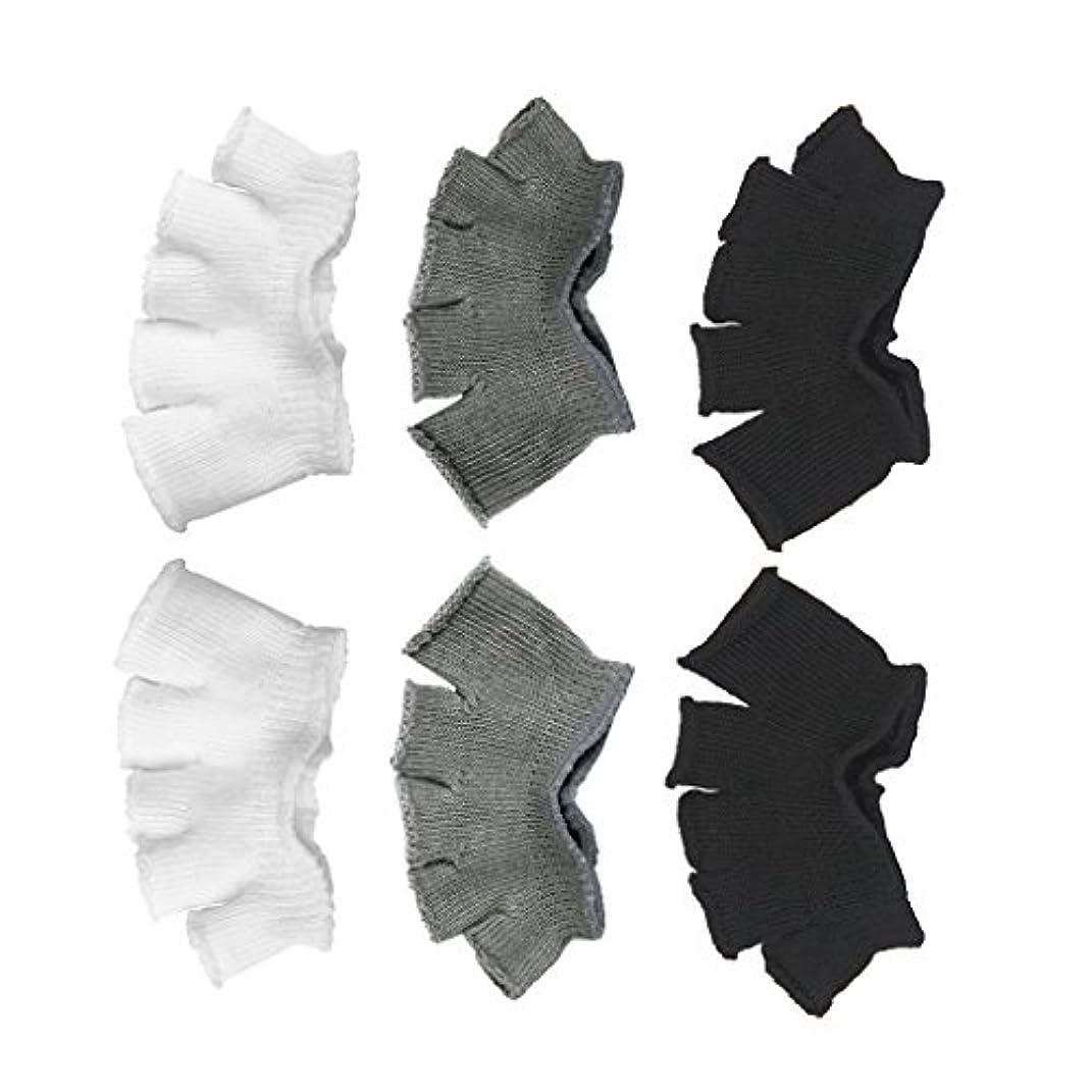ヘア部救出Footful 5本指カバー 爽快指の間カバー 3色(12枚入) 6ペア 男女兼用 足の臭い対策 抗菌 防臭 フットカバー ブラック/ホワイト/グレー