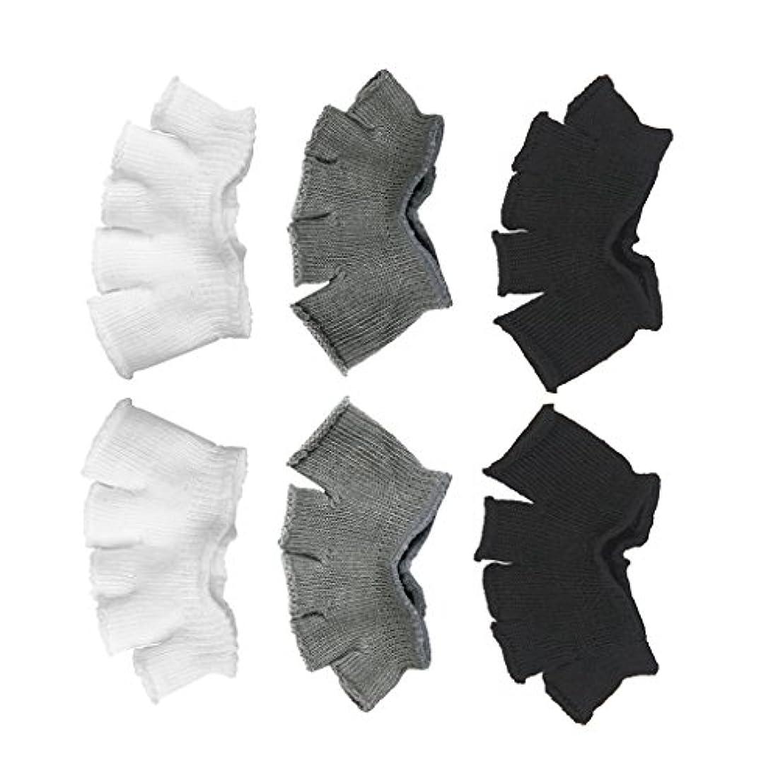 画像遠洋の分割Footful 5本指カバー 爽快指の間カバー 3色(12枚入) 6ペア 男女兼用 足の臭い対策 抗菌 防臭 フットカバー ブラック/ホワイト/グレー
