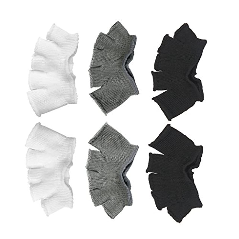 統合する線形ちっちゃいFootful 5本指カバー 爽快指の間カバー 3色(12枚入) 6ペア 男女兼用 足の臭い対策 抗菌 防臭 フットカバー ブラック/ホワイト/グレー
