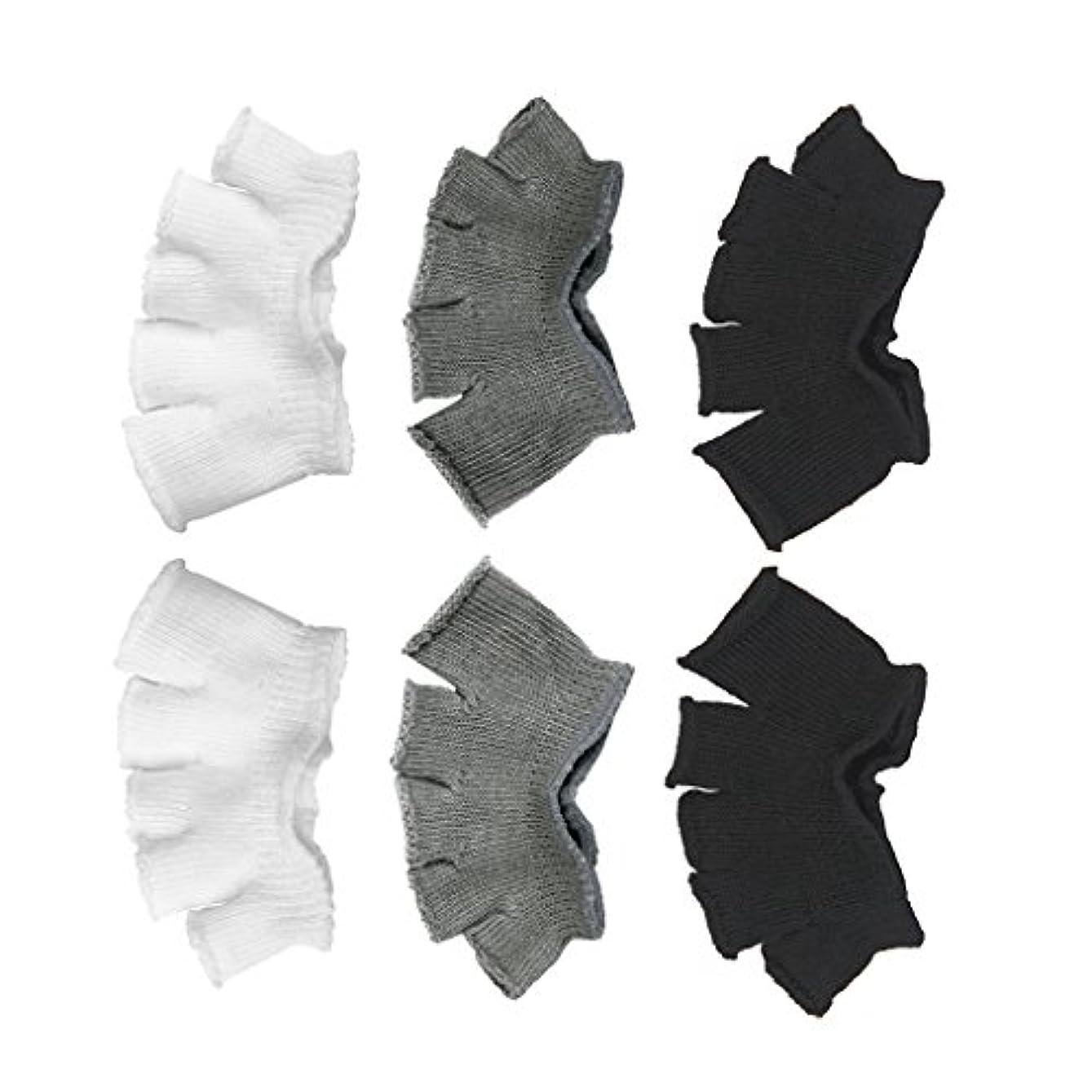 驚いたクロニクル暴行Footful 5本指カバー 爽快指の間カバー 3色(12枚入) 6ペア 男女兼用 足の臭い対策 抗菌 防臭 フットカバー ブラック/ホワイト/グレー
