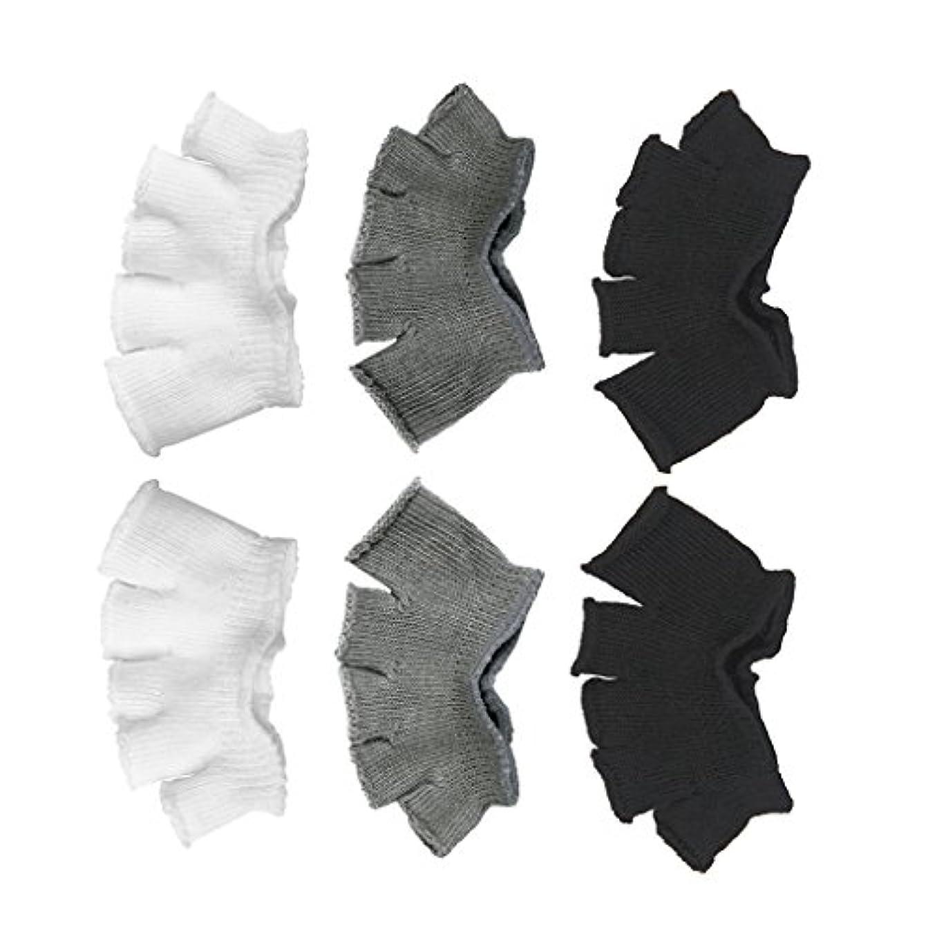 モートコイルコミュニティFootful 5本指カバー 爽快指の間カバー 3色(12枚入) 6ペア 男女兼用 足の臭い対策 抗菌 防臭 フットカバー ブラック/ホワイト/グレー