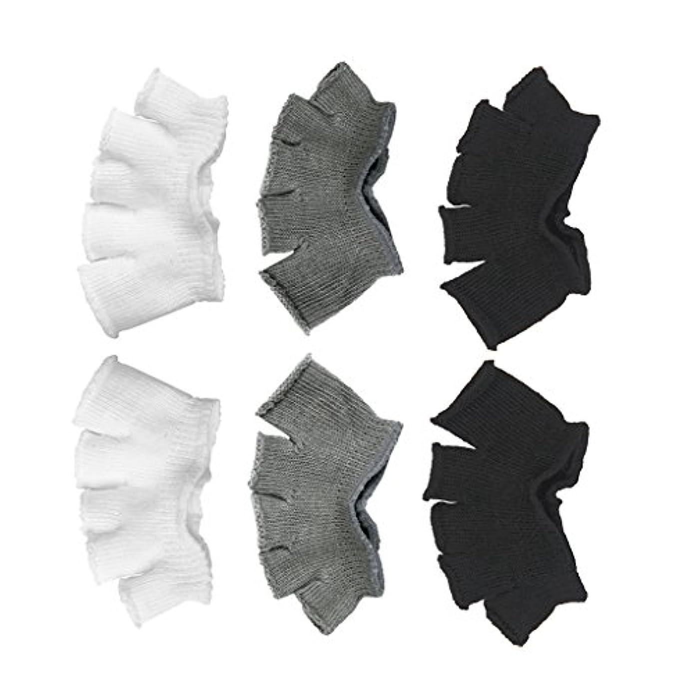 不屈パリティ無効Footful 5本指カバー 爽快指の間カバー 3色(12枚入) 6ペア 男女兼用 足の臭い対策 抗菌 防臭 フットカバー ブラック/ホワイト/グレー