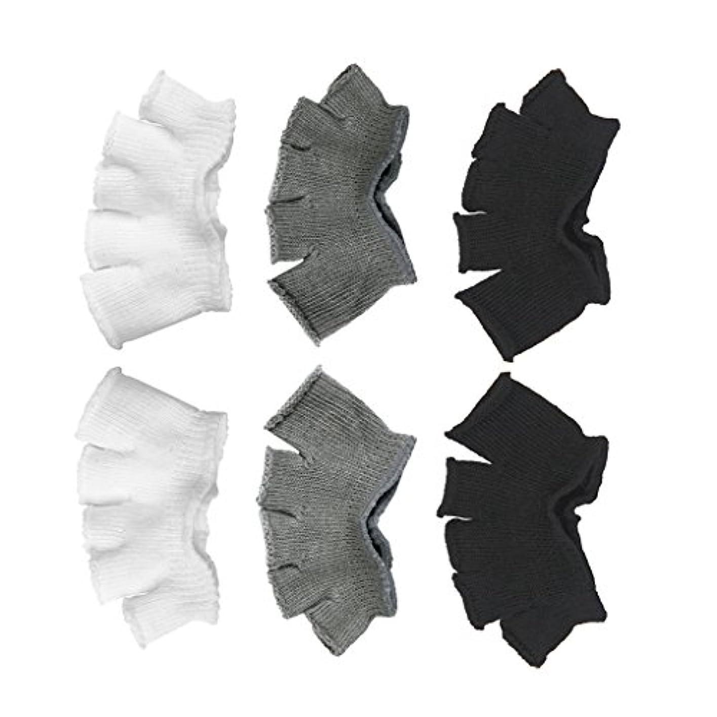 延ばすルビー所有権Footful 5本指カバー 爽快指の間カバー 3色(12枚入) 6ペア 男女兼用 足の臭い対策 抗菌 防臭 フットカバー ブラック/ホワイト/グレー