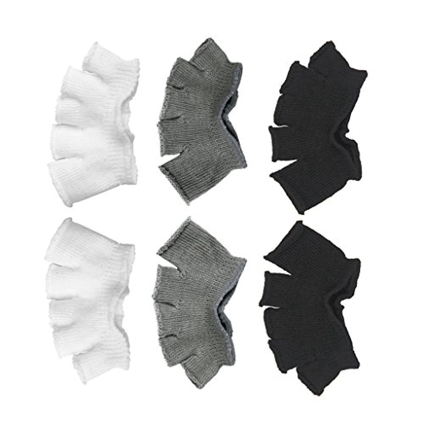 退却ウィスキー野心的Footful 5本指カバー 爽快指の間カバー 3色(12枚入) 6ペア 男女兼用 足の臭い対策 抗菌 防臭 フットカバー ブラック/ホワイト/グレー