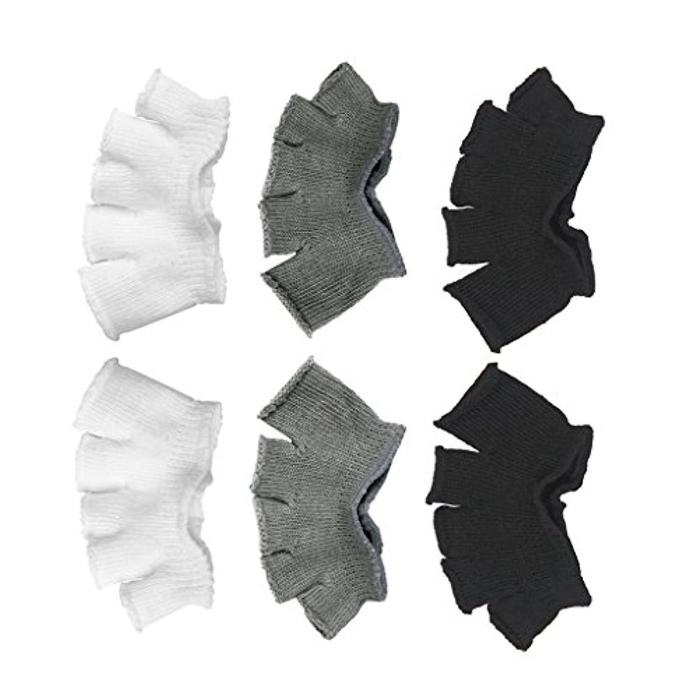 悪因子保安ブラウンFootful 5本指カバー 爽快指の間カバー 3色(12枚入) 6ペア 男女兼用 足の臭い対策 抗菌 防臭 フットカバー ブラック/ホワイト/グレー