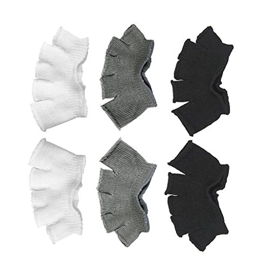 乗って宇宙船運命的なFootful 5本指カバー 爽快指の間カバー 3色(12枚入) 6ペア 男女兼用 足の臭い対策 抗菌 防臭 フットカバー ブラック/ホワイト/グレー