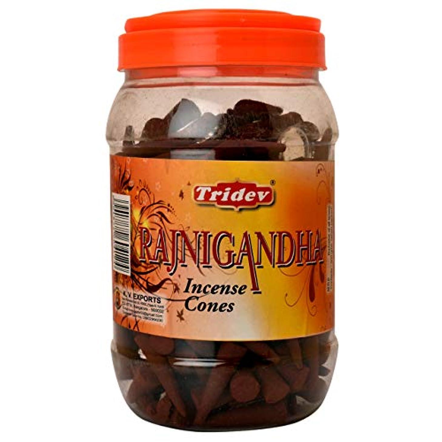 深さ笑い揺れるTridev Rajnigandha Incense Cones Jar 500グラムパック