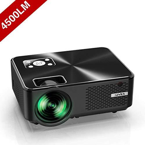 YABER プロジェクター小型 4500lm 1080PフルHD対応 高画質 1280×720ネイティブ解像度 ホームシアター LED プロジェクター 金属カーバ HIFIスピーカー内蔵 スマホ パソコン タブレット ゲーム機 DVDプレイヤーなどに対応 HDMIケーブル付属
