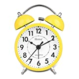 HENSE CLOCKS(ハンセ)ライト付き目覚し時計大音量ベル音 アナログ時計 連続秒針3インチ HA01-03 黄色い